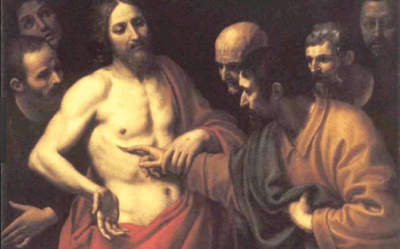 Toma stavlja prst u probodeni Kristov bok jer se želi uvjeriti dodirom ruke i dodirom uma